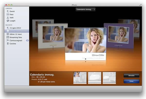 Calendario con le tue foto modificate Mac